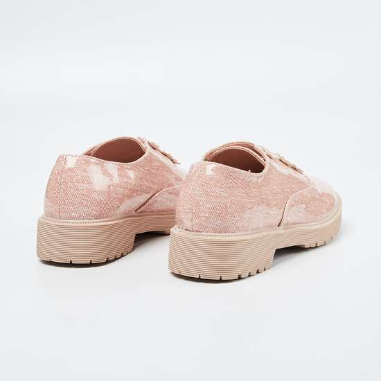 FAME FOREVER Textured Slip-On Shoes with Floral Applique