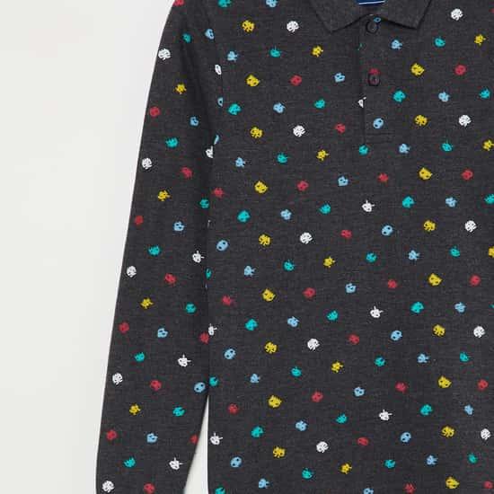 FAME FOREVER KIDS Printed Full Sleeves Polo T-shirt