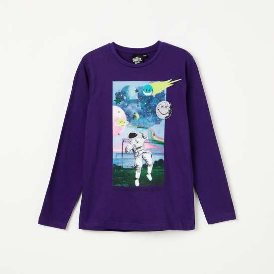 SMILEY Graphic Print Long Sleeves T-shirt