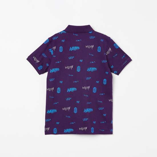 BOSSINI Typographic Print Short Sleeves Polo T-shirt