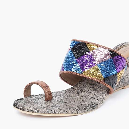 CATWALK Toe-Cap Wedges with Sequinned Strap