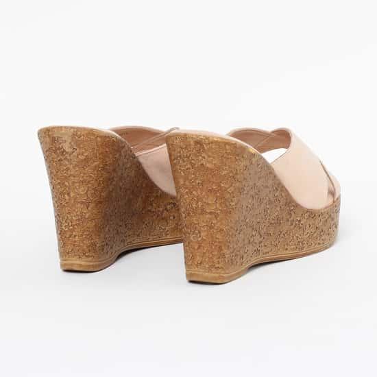 CATWALK Textured Criss-Cross Platforms with Wedge Heels