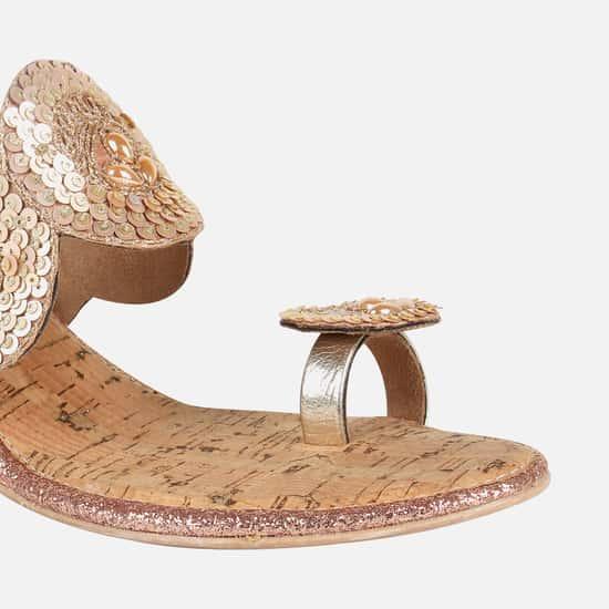 CATWALK Sequin Embellished On-Toed Wedges