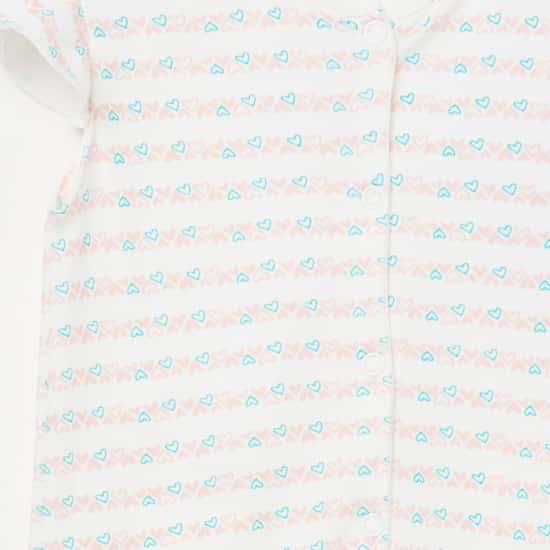 FS MINI KLUB Printed Cap Sleeves Romper - Set of 2