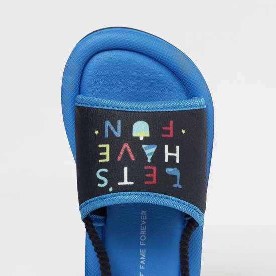 FAME FOREVER Typographic Print Slingback Flat Sandals