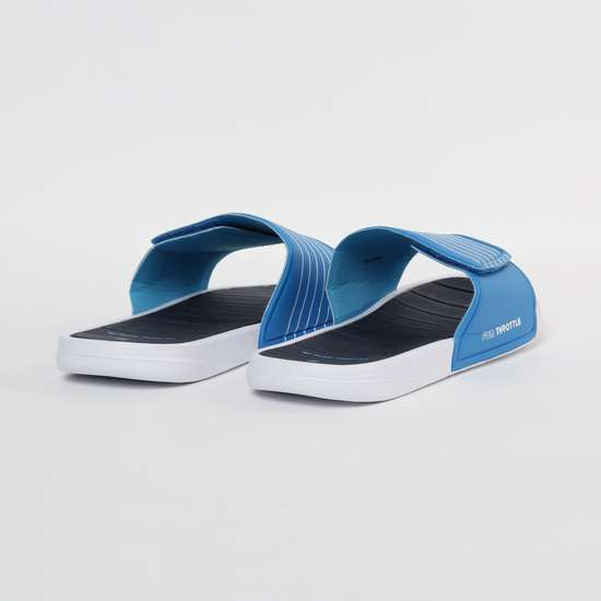 FAME FOREVER Typographic Print Striped Flat Slippers