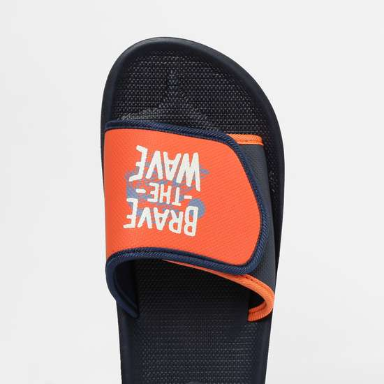 FAME FOREVER Typographic Print Slippers with Velcro Closure