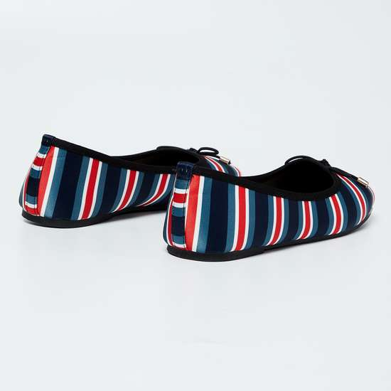 FAME FOREVER Striped Bow Detailed Ballerinas