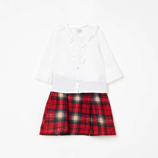 PEPPERMINT Solid Top with Checked Skirt