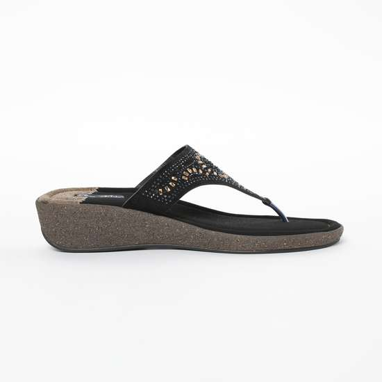 RAW HIDE Textured Wedges with Stone Embellishments