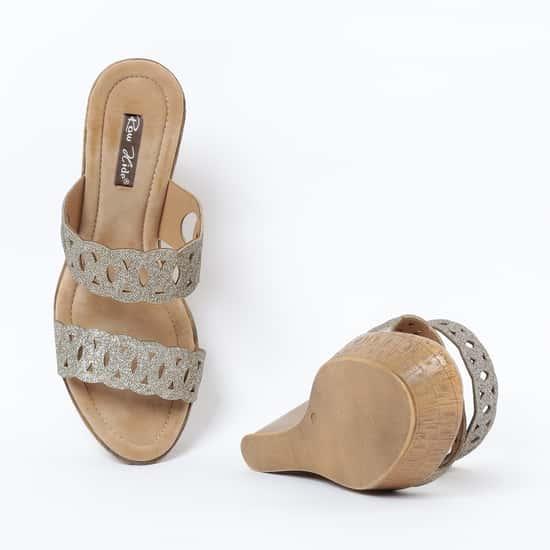 RAW HIDE Textured Platforms with Wedge Heels