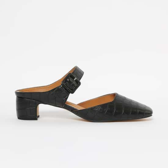 ALLEN SOLLY Reptilian Pattern Closed-Toe Block Heels