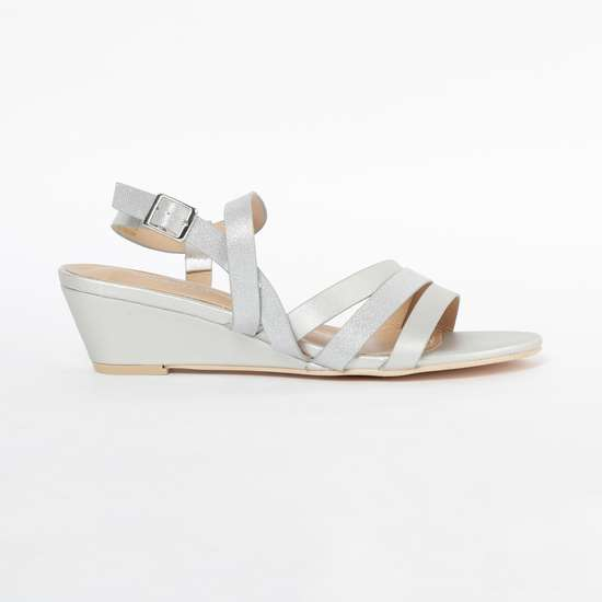 ALLEN SOLLY Textured Slingback Wedges