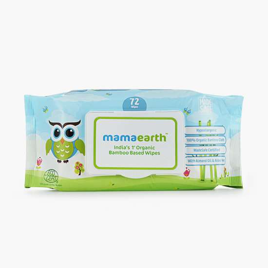 MAMAEARTH India's First Organic Bamboo Based Baby Wipes - Pack of 72