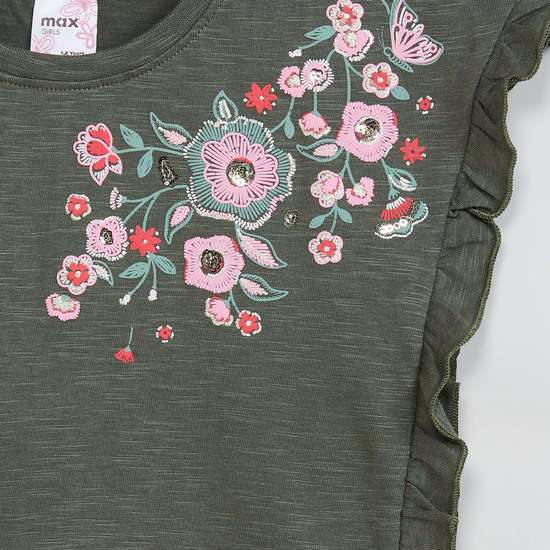 MAX Ruffled Trim Floral Embroidery Top