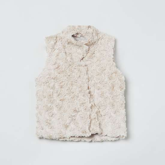 MAX Rosette Fur Textured Sleeveless Jacket