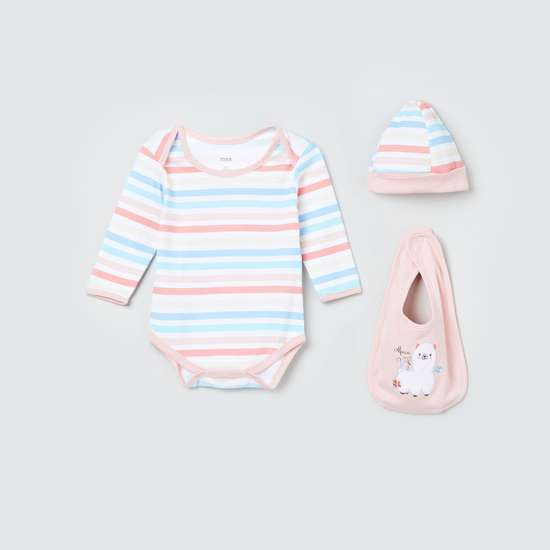 MAX Striped Romper with Bib and Cap