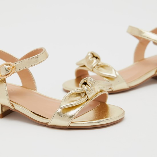 Knot Detail Ankle-Strap Sandals with Pin Buckle Closure