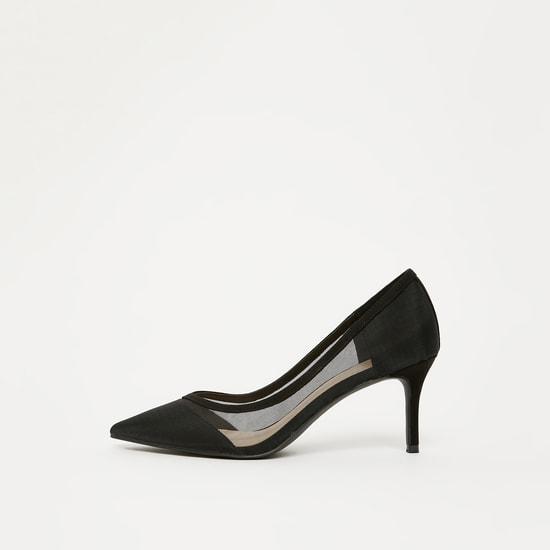 حذاء ستيليتو سادة بتفاصيل شبكية