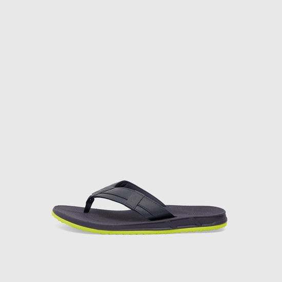 Solid Flip Flops with Stitch Detail and Textured Footbed