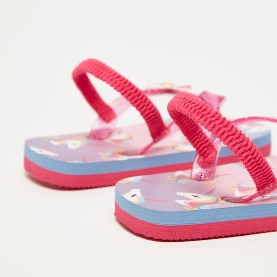 Printed Flip-Flops with Elasticated Straps