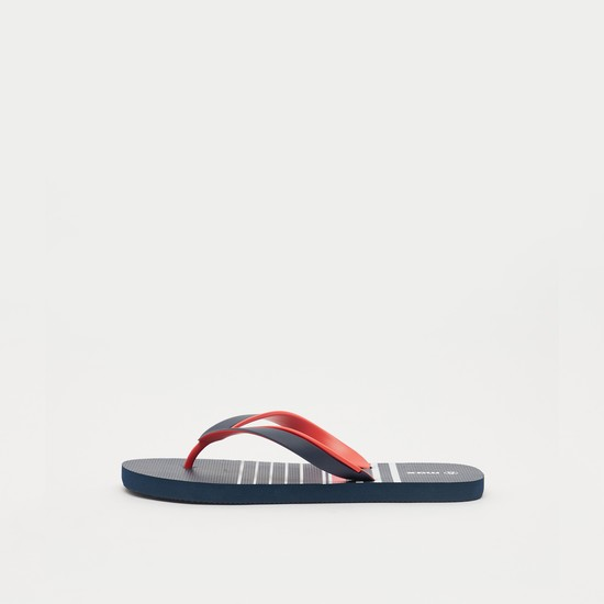 Thong Style Striped Slip-On Beach Slippers