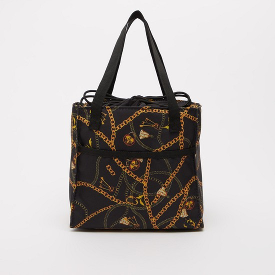 Printed Lunch Bag with Twin Handles and Drawstring Closure