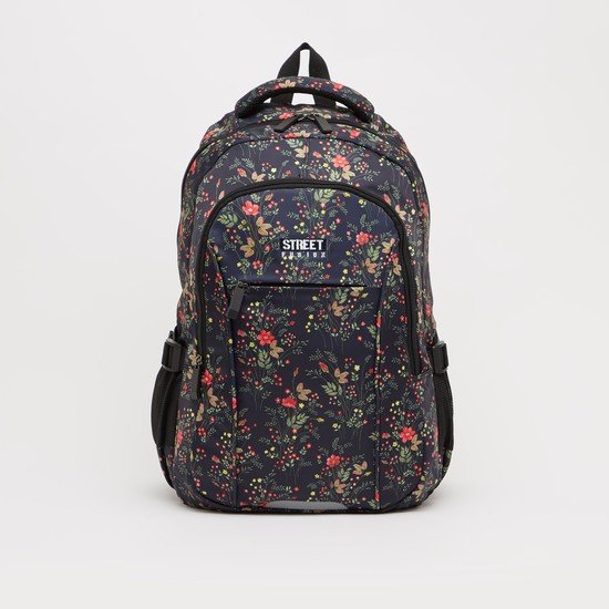 Printed Backpack with Adjustable Shoulder Straps - 18.50 Inches