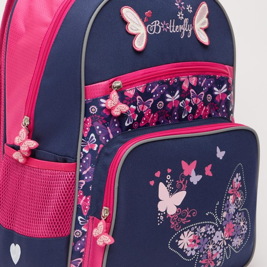 Butterfly Print Backpack with Applique Detail and Adjustable Straps 16.50 Inches
