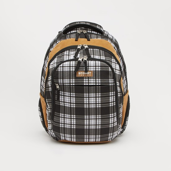 Checked Backpack with Adjustable Straps and Zip Closure - 18 Inches
