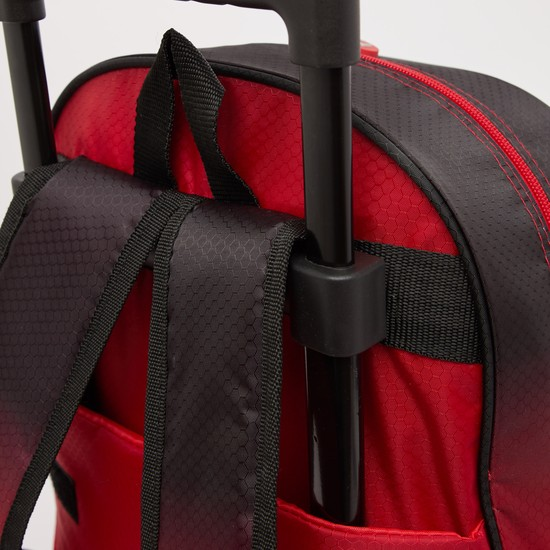 Spider-Man Print Trolley Backpack with Retractable Handle - 16 Inches