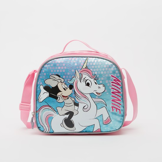 Minnie Mouse Print Lunch Bag with Adjustable Strap