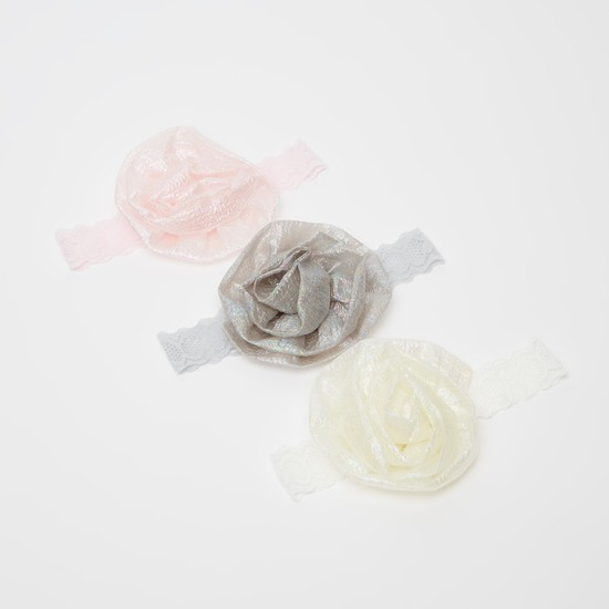 Set of 3 - Lace Headband with Flower Applique Detail