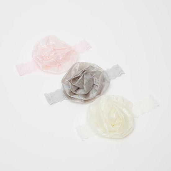 شريطة رأس دانتيل بتفاصيل أزهار مزخرفة - طقم من 3 قطع