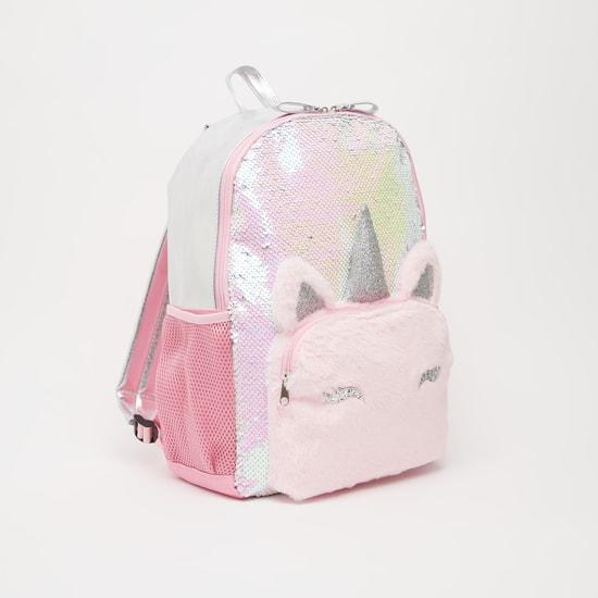 Sequin Detail Backpack with Adjustable Shoulder Straps - 16 Inches