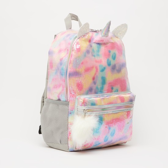 Embellished Backpack with Adjustable Straps and Zip Closure - 17 Inches