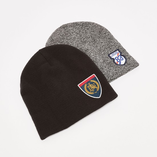 Set of 2 - Textured Beanie Caps with Patch Detail