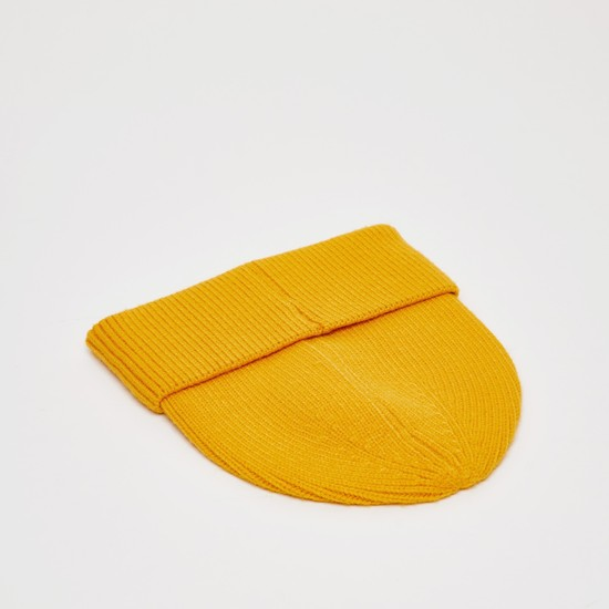 Textured Beanie Cap with Cuffed Hem