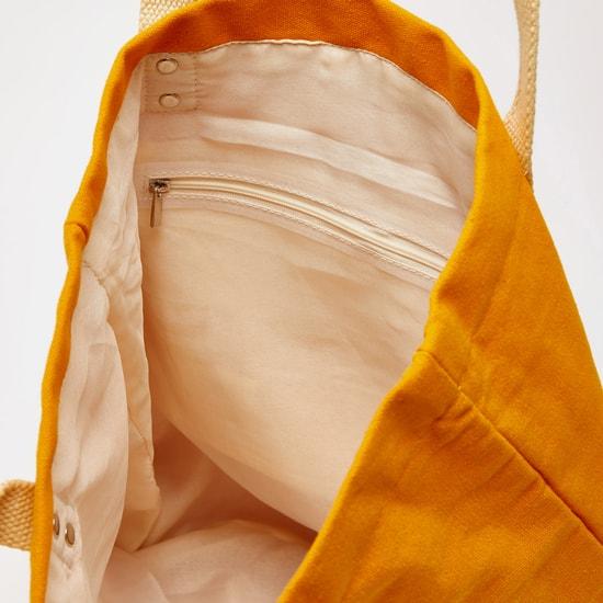 شنطة تسوّق قماشيّة بارزة الملمس بمقابض مزدوجة