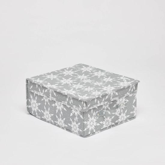 صندوق تخزين بطبعات وغطاء ومقابض - 28x33x15 سم