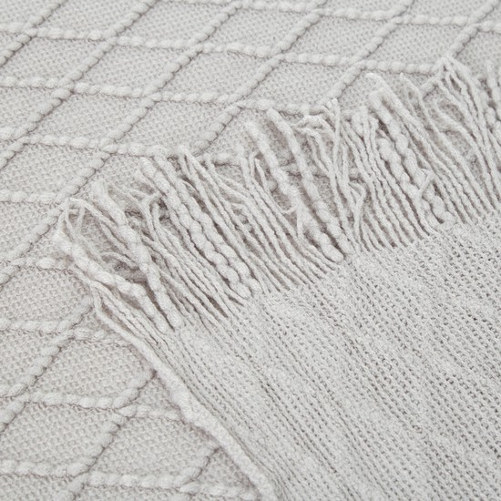 Textured Single Throw with Tassels - 152x127 cms