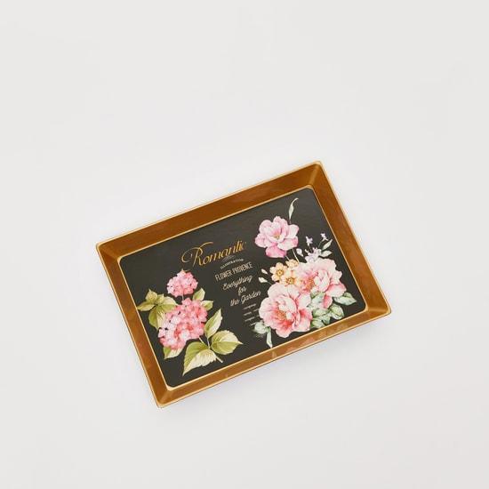 صينية تقديم مستطيلة بطبعات زهور - 20x14x2 سم