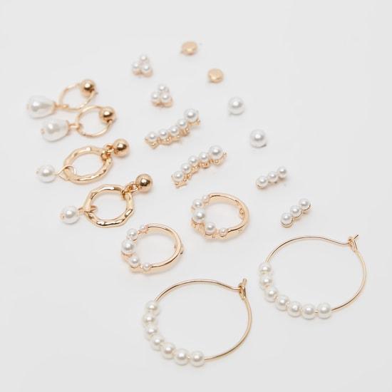 Set of 9 - Pearl Detail Earrings