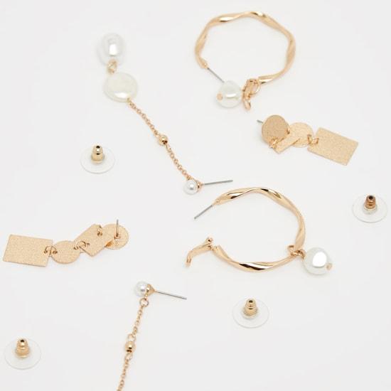 Set of 3 - Embellished Dangling Earrings