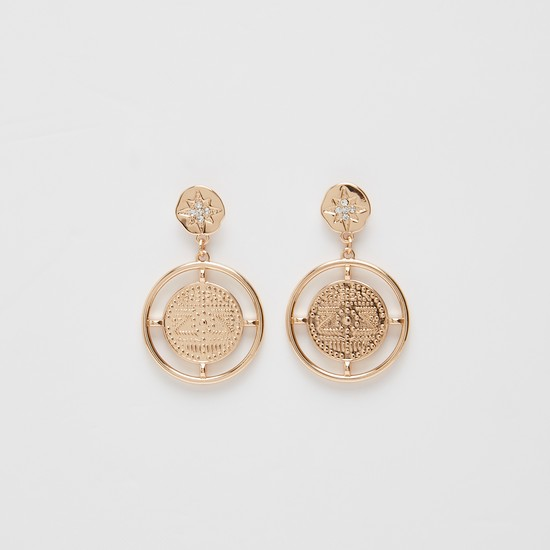 Stone Studded Etched Coin-Shaped Drop-Earrings
