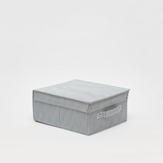 صندوق تخزين مخطط بمقبض وغطاء - 28x33x15 سم