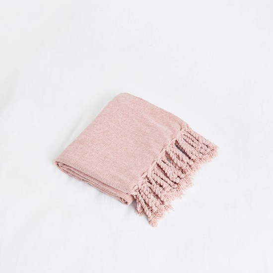 Textured Throw with Fringed Tassels - 152x127 cms