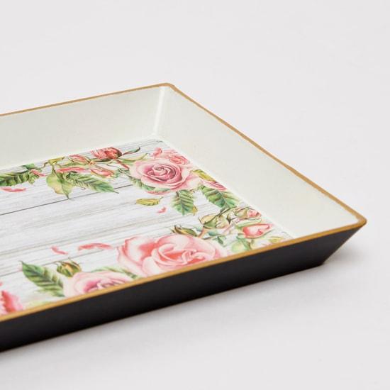 صينية تقديم مستطيلة بطبعات أزهار