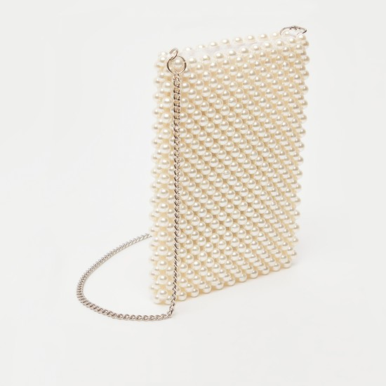Pearl Detail Crossbody Bag with Metallic Chain Strap and Zip Closure