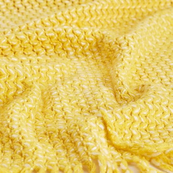 Textured Blanket Throw with Tassel Detail - 152x127 cms
